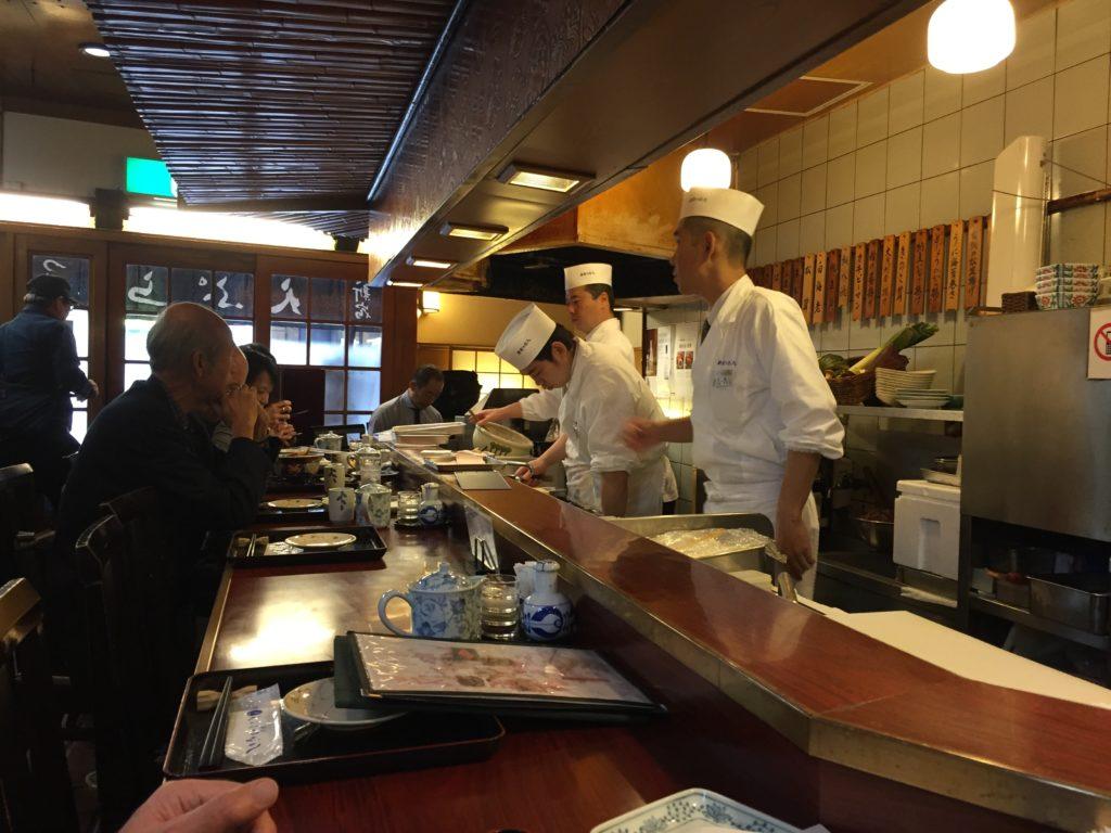 A tempura restaurant in Tokyo, Japan.
